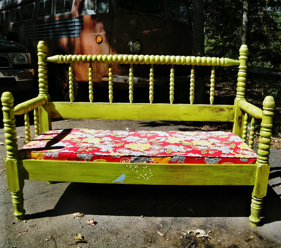 Bench Vintage Spindle Bed Upcycled With Upholstered