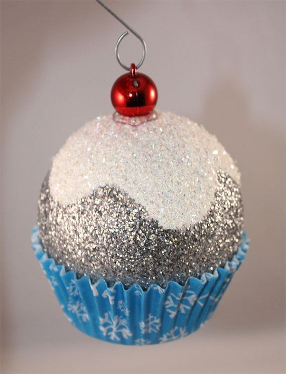 Blue Snowflake Cupcake Christmas Ornaments