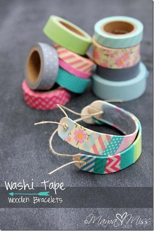 Craft Ideas For Kids To Sell Part - 47: Washi Tape Wooden Bracelets