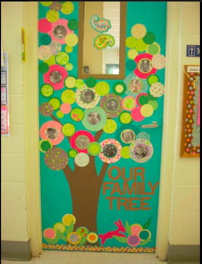 53 classroom door decoration projects for teachers for Apple tree classroom decoration