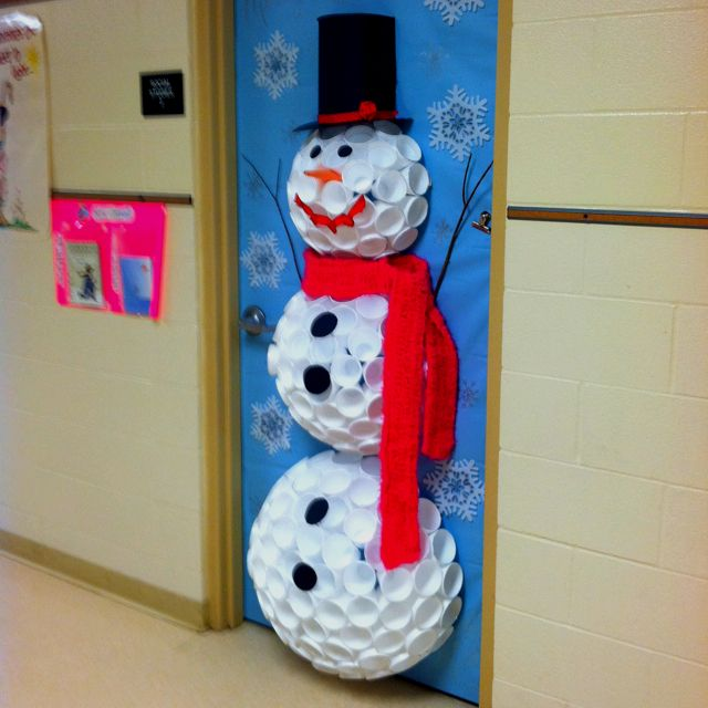 53 classroom door decoration projects for teachers for 3d snowman door decoration