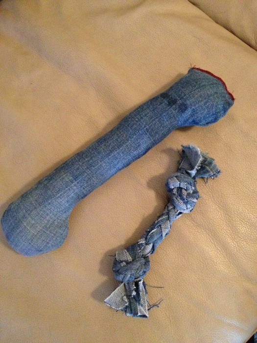 homemade denim dog toys