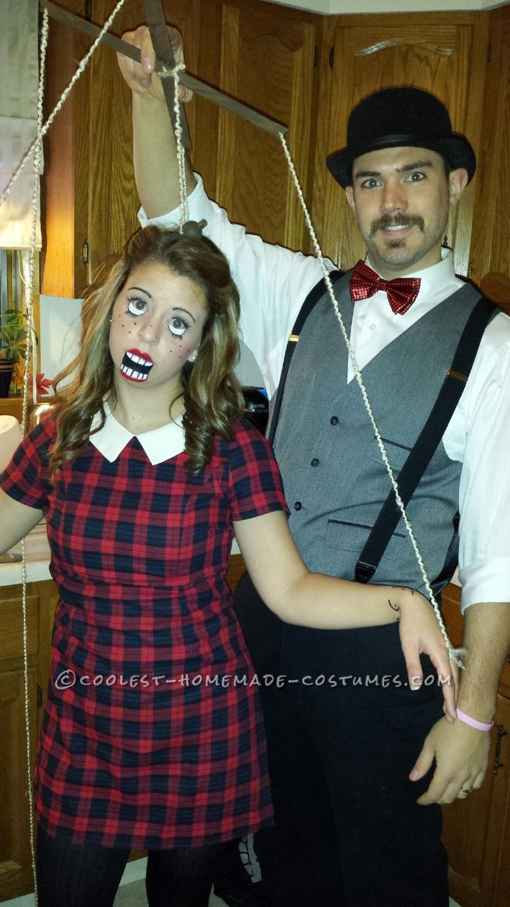 diy couples halloween costume as puppet and puppeteer - Puppet Halloween