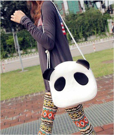 Cute Panda PU Leather Handbag Shoulder Bag