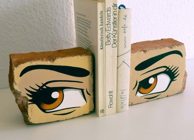 Manga Eyes on Brick Book Ends