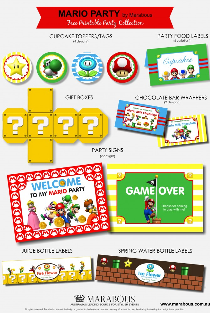 This is a graphic of Divine Super Mario Party Printables