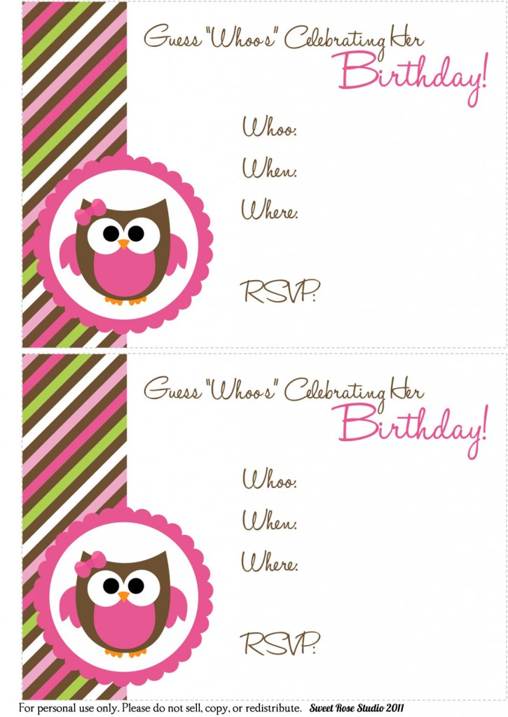 41 Printable Birthday Party Cards Invitations for Kids to Make – Diy Girl Birthday Party Invitations