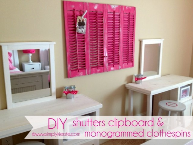 diy shutters clipboard - Diy Teenage Bedroom Decorating Ideas