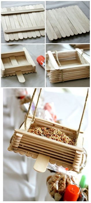 Popsicle Sticks Bird Feeders