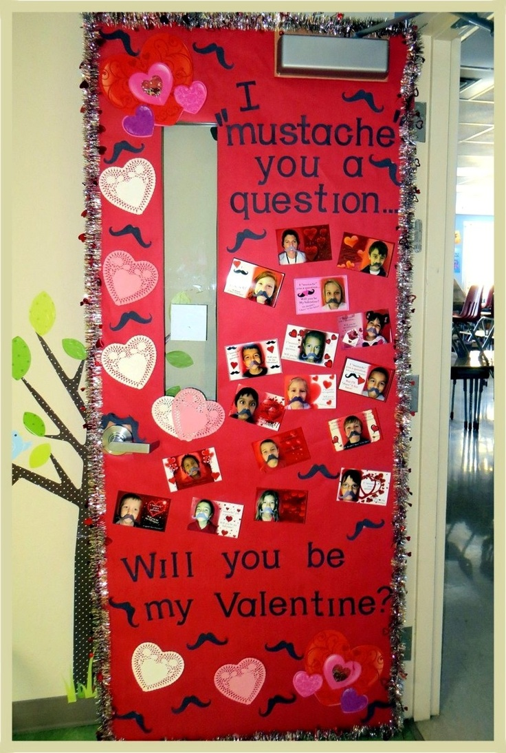 Mustache You A Question Be My Valentine Classroom Door