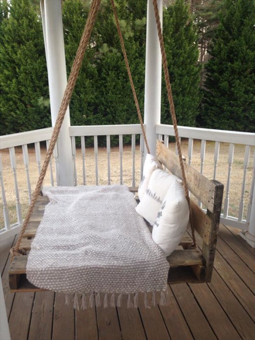 wood pallet furniture ideas. DIY Pallet Swing Bed Wood Furniture Ideas
