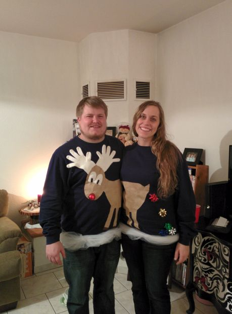 Easy Reindeer Ugly Christmas Sweater for Couples