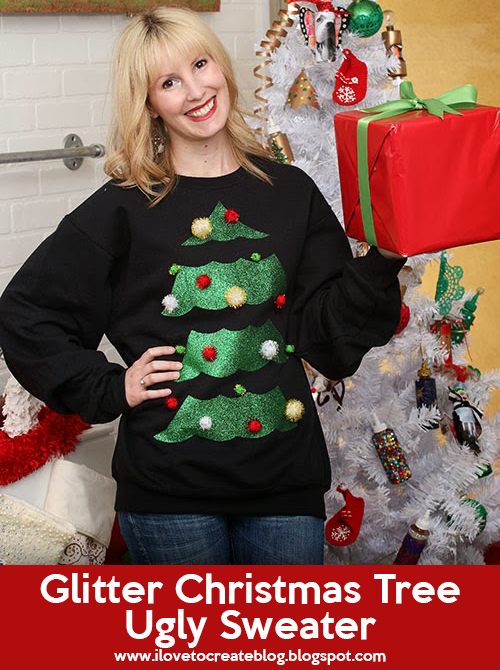 O Christmas tree, O Christmas tree, how tacky are thy branches? Put a tacky twist on the ultimate icon of the holidays the Christmas tree! Choose a solid-color sweater (we chose black to make the tree really stand out) and let's get started.