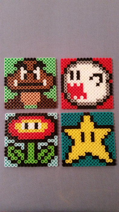 Mario Bros Bead Coasters