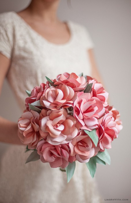 51 diy paper flower tutorials how to make paper flowers diy paper rose wedding bouquet mightylinksfo Choice Image