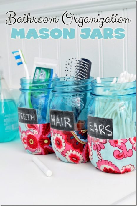 Bathroom Organization Mason Jars
