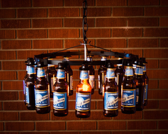 Starburst lamp etsy - 20 Bright Ideas Diy Wine Amp Beer Bottle Chandeliers