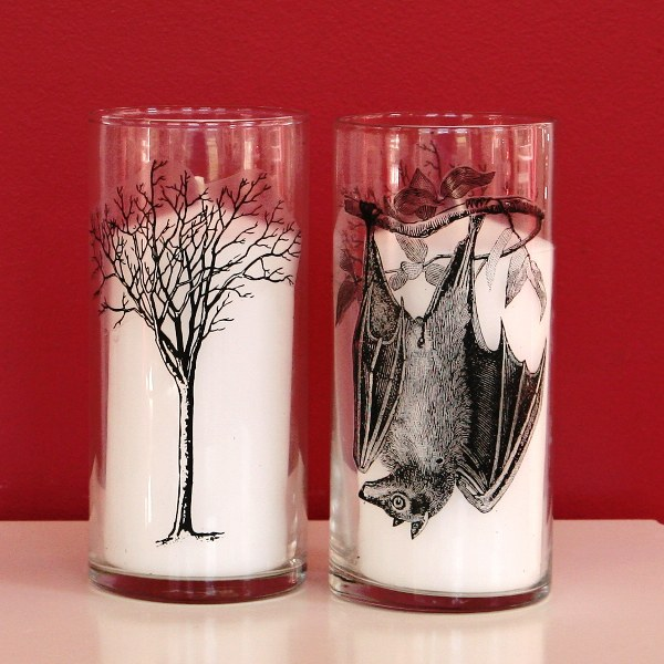 DIY Spooky Hurricane Candle Holders