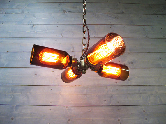 Rustic Chandelier Beer Bottle Light Bigdiyideas Com