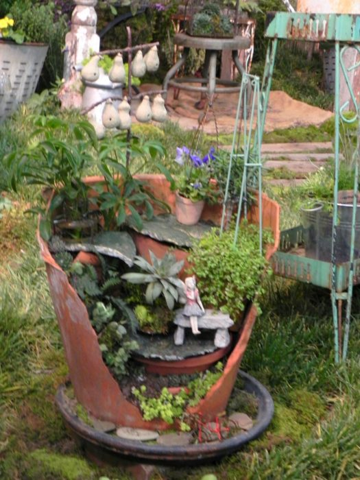 fairy garden pot outdoors