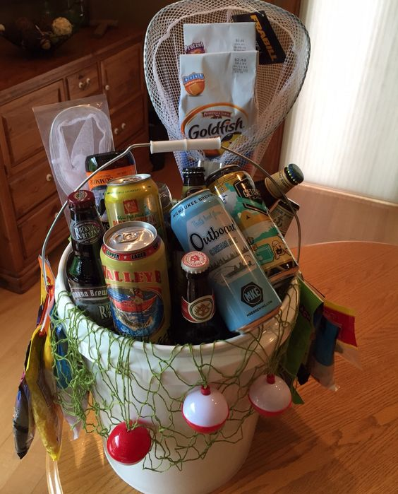 32 homemade gift basket ideas for men beer fishing bucket negle Choice Image