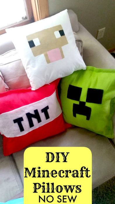 DIY Minecraft Pillows No Sew Tutorial