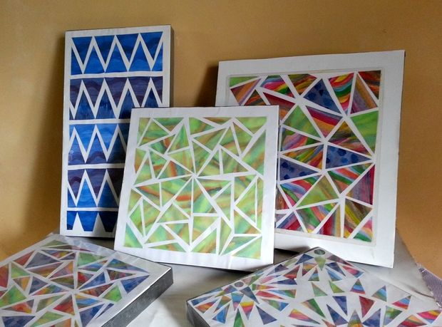 Chromatic geometric wall art Painting geometric patterns on walls
