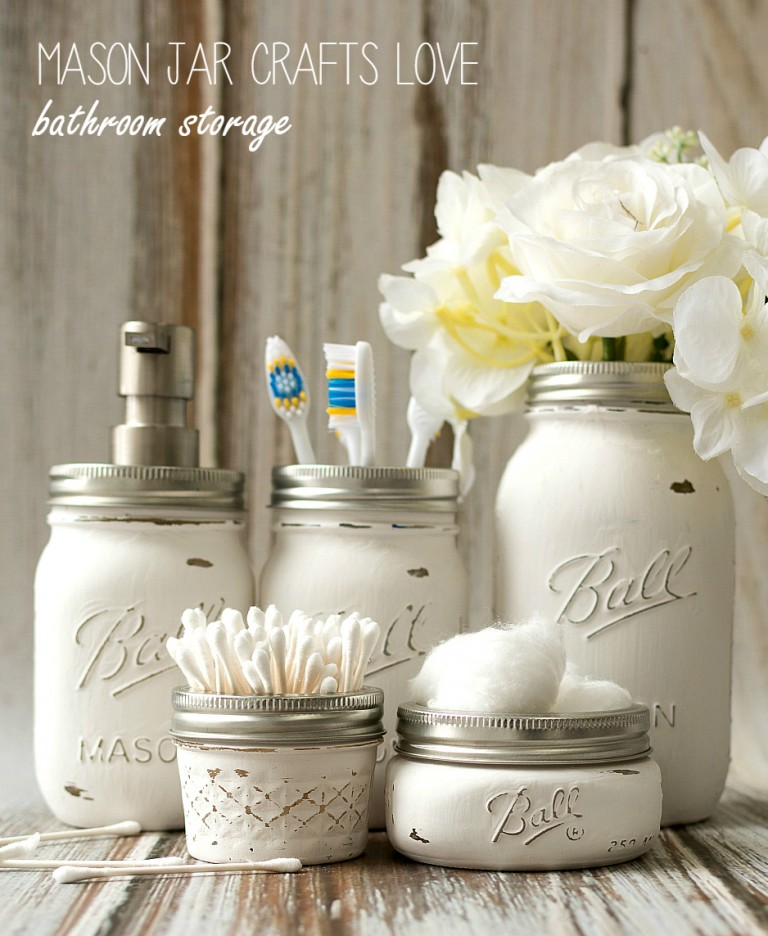 Bathroom Storage Jar Ideas : Mason jar bathroom storage bigdiyideas