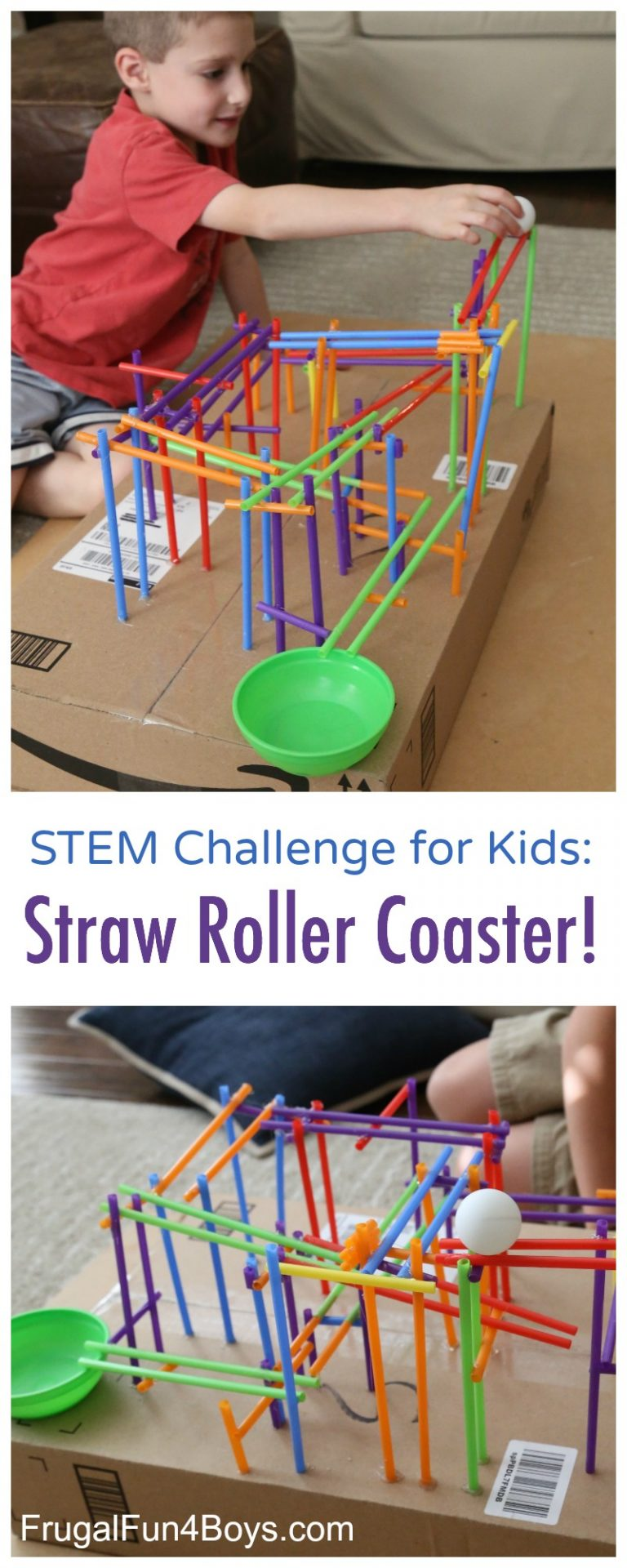Stem Challenge For Kids Straw Roller Coaster Bigdiyideas Com