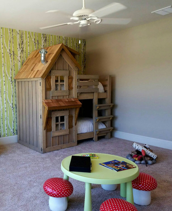 The Rustic Cabin Bunk Bed Bigdiyideas Com