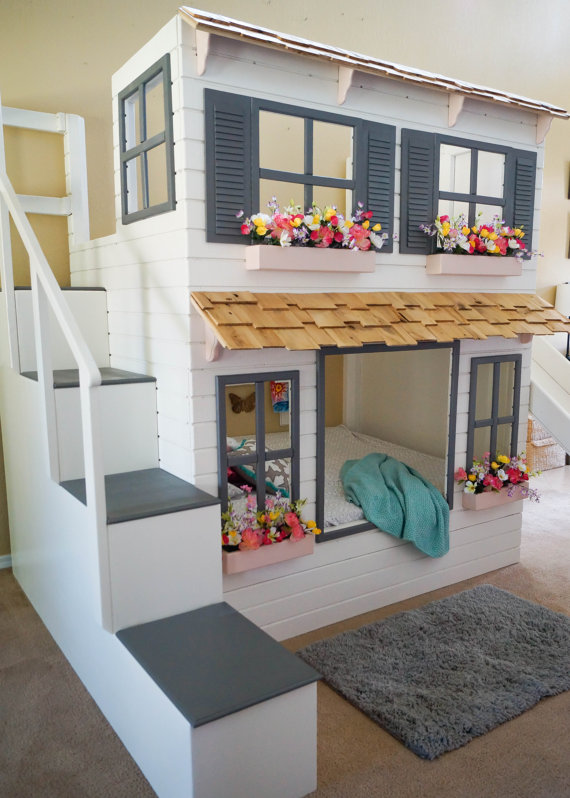 The ultimate custom dollhouse loft or bunk bed - Bunk bed decorating ideas ...
