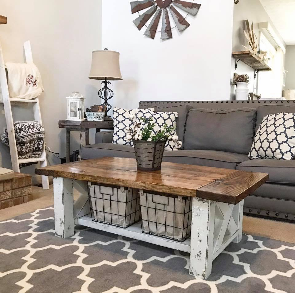 Chunky farmhouse coffee table New build living room designs