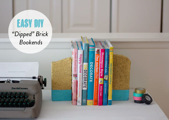 Easy DIY Dipped Brick Bookends