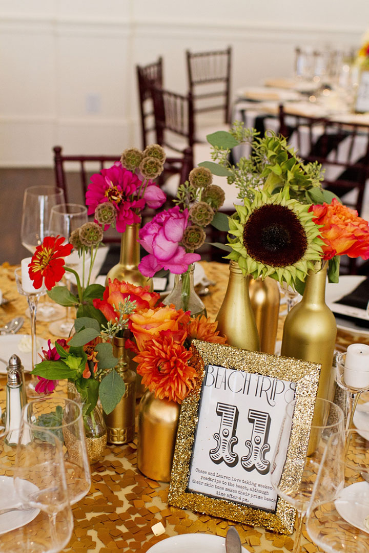 Diy Gold Painted Bottle Centerpieces For Wedding