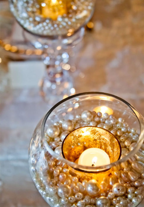 elegant diy pearl and candle centerpieces - Diy Centerpieces