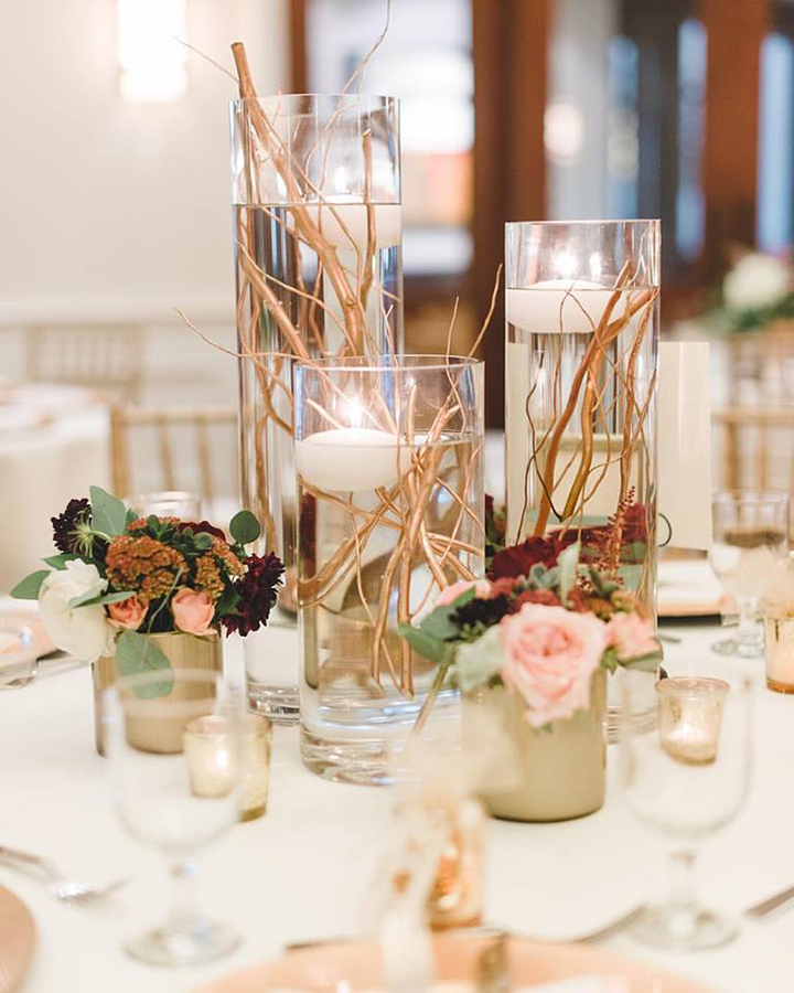 Inexpensive Wedding Centerpiece Ideas: Elegant Gold Stemmed Wedding Centerpieces