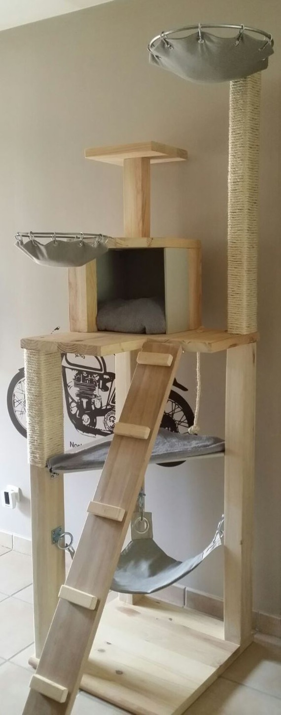 solid wood cat tree 6 story. Black Bedroom Furniture Sets. Home Design Ideas
