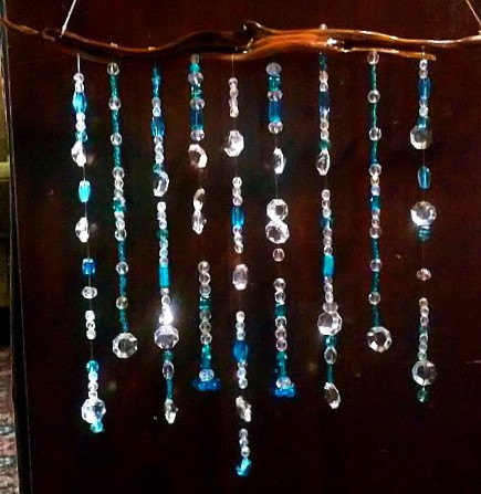 Unique Blue Crystal And Glass Beaded Wind Chime On