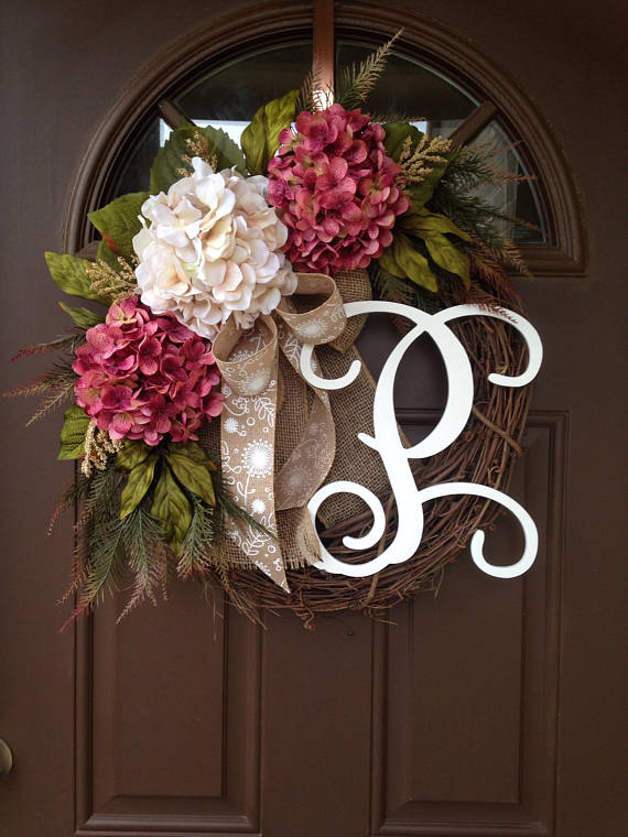 spring summer hydrangea wreath for front door