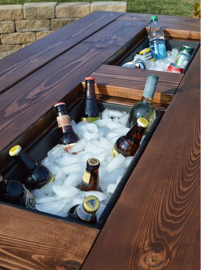 DIY an Outdoor Table with a Built in Hidden Cooler ...