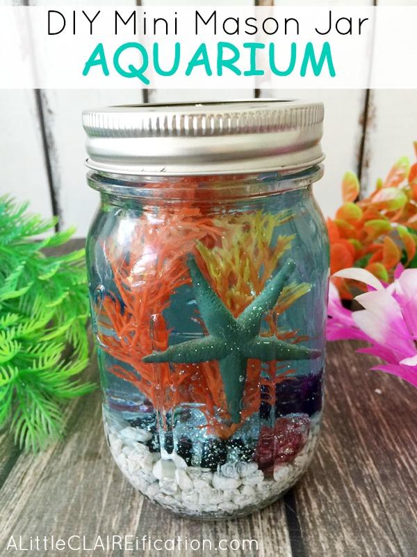 40 mason jar crafts ideas to make sell mini mason jar aquarium solutioingenieria Gallery