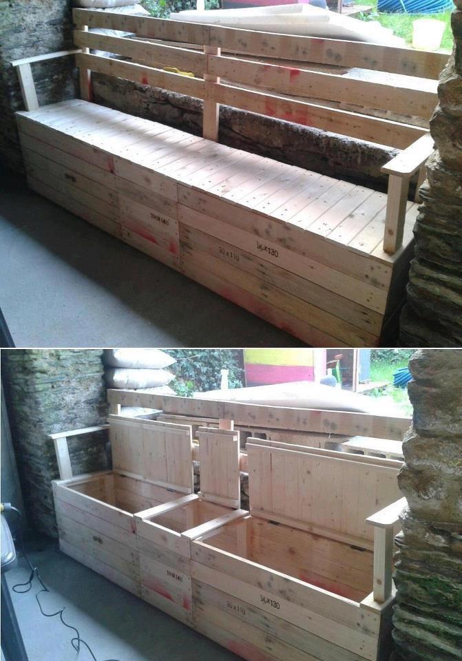fabriquer banc jardin avec rangement