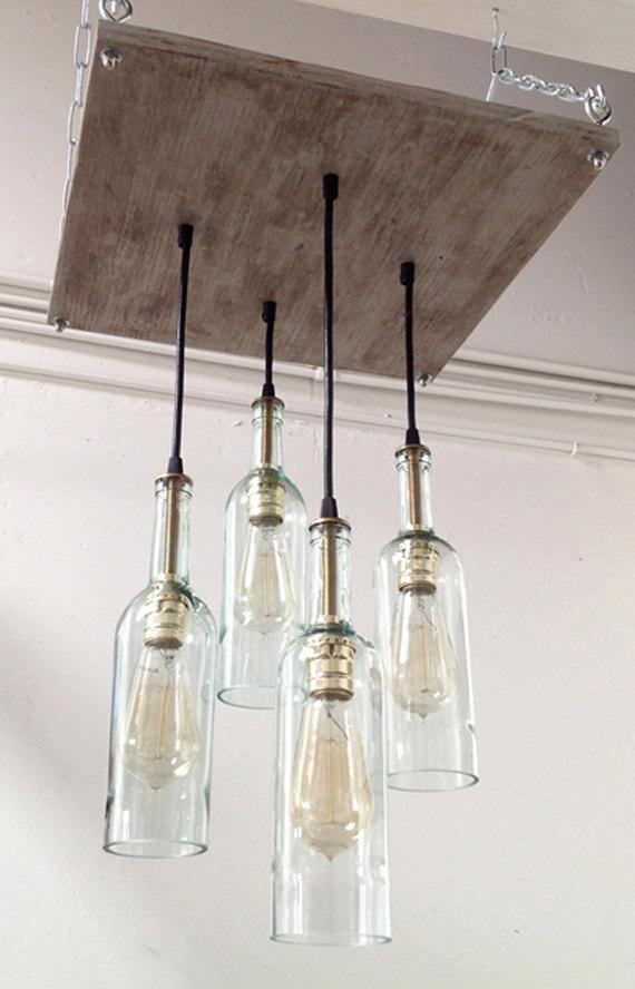 Recycled wine bottle chandelier bigdiyideas recycled wine bottle chandelier aloadofball Gallery