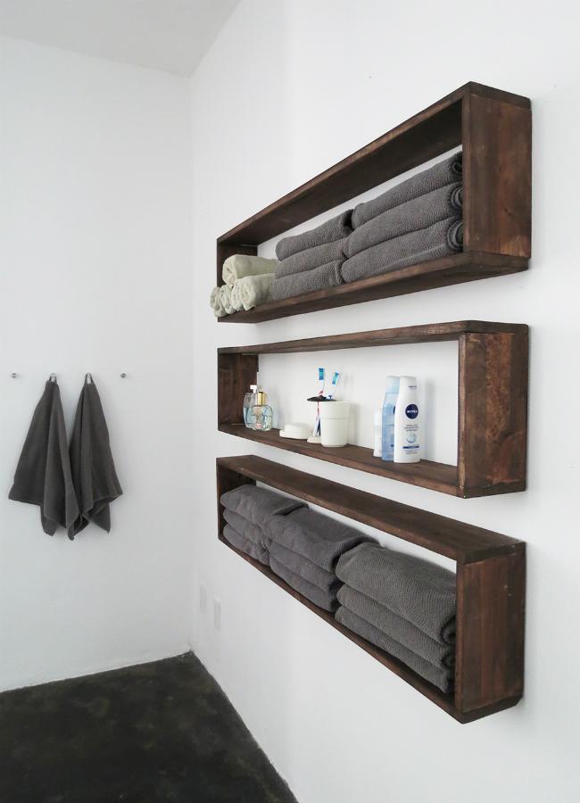 DIY Bathroom Wall Shelves - BigDIYIdeas.com on diy cheap bathroom remodel, diy paper wall covering, romantic bathroom decorating ideas, diy bathroom decor, bathtub wall ideas, texture wall paint design ideas, diy cheap bathroom makeovers, diy bathroom art, diy bathroom makeovers on a budget, bathroom mirror wall ideas, bathroom vanity wall ideas, wall rustic bathroom ideas, cheap bathroom decorating ideas, diy half bathroom vanity, diy bathroom shelf idea, diy bathroom wallpaper, hgtv bathroom wall ideas, bathroom towel shelf ideas, bathroom wall art ideas, diy bath ideas,