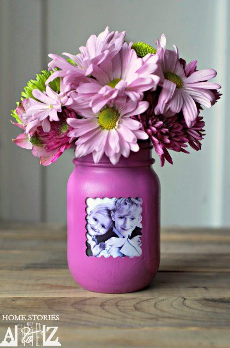 Mason Jar Picture Frame Vase