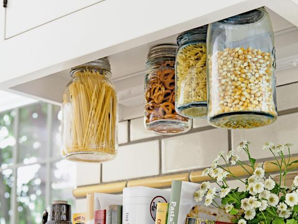 DIY Hanging Mason Jar Storage