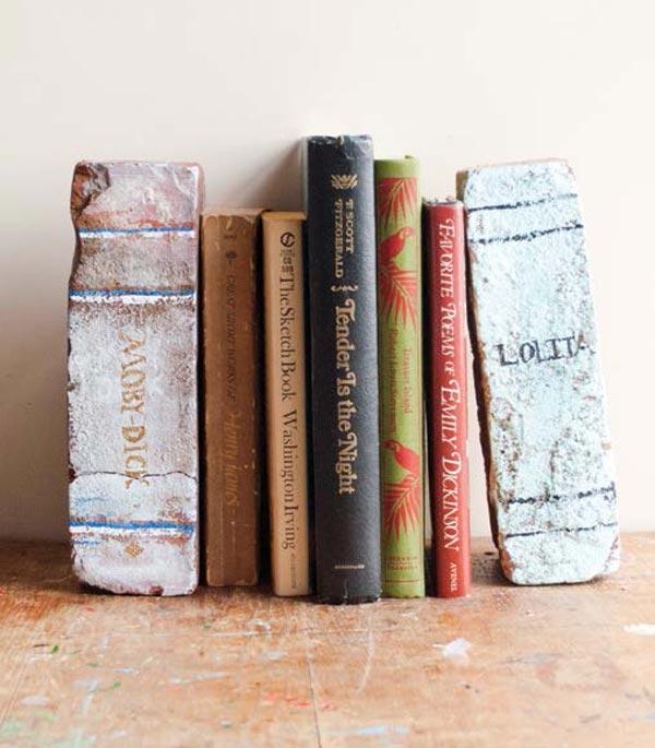 superior Homemade Bookends Part - 3: DIY Brick Bookends