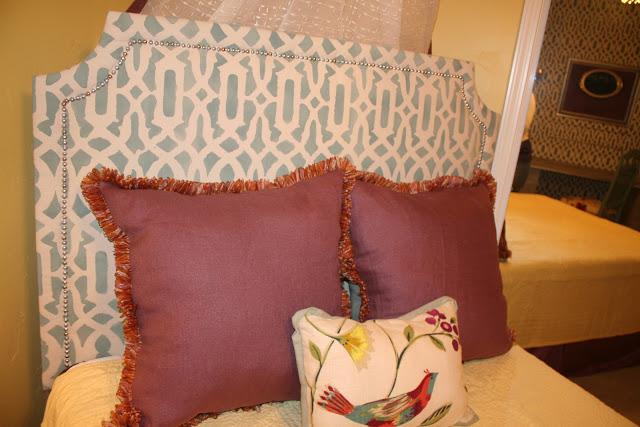 Diy Upholstered Headboard With Stenciled Fabric Bigdiyideas Com